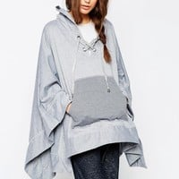 ASOS Hooded Jersey Cape With Tie Front Detail
