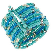 Haskell Bracelet, Silver-Tone Blue and Teal Bead Cuff Bracelet - All Fashion Jewelry - Jewelry & Watches - Macy's