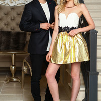 Strapless Floral Gold Flare Dress