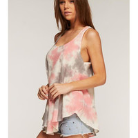 Coral and Gray Tie Dye Tank