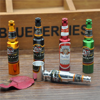 1 Pc Small Beer Bottle Shape Metal Smoking Pipe Tobacco Pipe Grinder Color Random