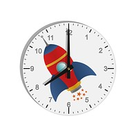 """Space Rocket Ship and Stars 8"""" Round Wall Clock with Numbers by TooLoud"""