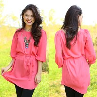 Uptown Girl Dress in Coral