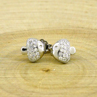 Silver Fish Stud Earrings with Cubic Zirconia