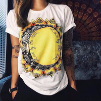European T shirt Women Summer 2016 Sun And Moon Print Punk Rock Fashion Graphic Tees Women Designer Clothing