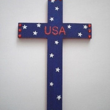 "PATRIOTIC Wall Cross - Sparkling Handpainted Red, White and Blue Cross w/ Glittery USA & Red Rhinestones, 4th of July - 12"" x 7.5"""