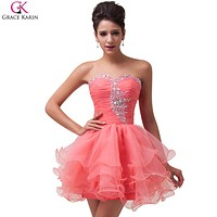 Grace Karin Cocktail Dresses 2017 Sequin Beaded Voile Strapless Vestidos Mini Formal Ball Gowns Wedding Party Dress Cocktail