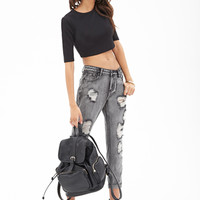 FOREVER 21 Mineral Wash Boyfriend Jeans Charcoal