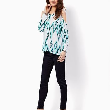 Abstract Cold Shoulder Top   Fashion Apparel and Clothing   charming charlie