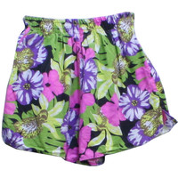 1990's Retro Swimsuit/Swimwear: 90s -Gitano- Womens shaded green background with black, white, pink and tan floral print cotton, polyester brief lined wicked 90s swim shorts with elastic waistline and notched side vents.