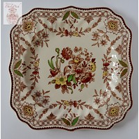 "Square Vintage English Polychrome Brown Transferware 8"" Plate Royal Doulton Tulips Roses Flowers"