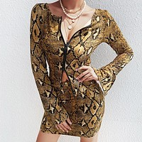 New fashion snake texture print  long sleeve dress women