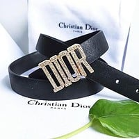 Dior Tide brand men and women casual wild diamond-studded letter buckle belt Black