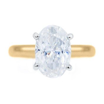 Skinny Oval First Crush FAB Moissanite 4 Prongs FANCY Solitaire Ring