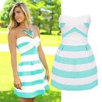 Janecrafts Women Strapless Stripe A Line Fit and Flare Cocktail Party Dress