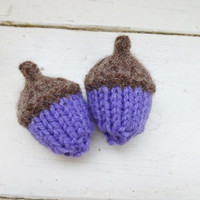 Knit acorns, Acorns for sale, oak acorns, stuffed acorn, woodland decor, bowl sitter, vase filler, ready to ship, hand knit, amethyst orchid