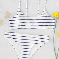 Striped Spaghetti Strap Bikini Set -SheIn(Sheinside)