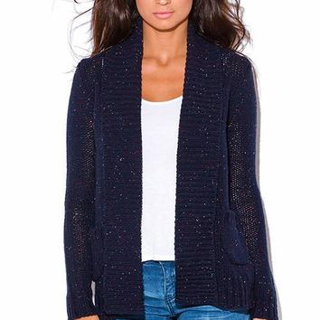 The Wrap Up Chunky Knit Blue Cardigan