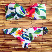 [SUMMER CLEARANCE] Floral Pattern Low Waist Bikinis Sexy Swimsuit = 1945852484