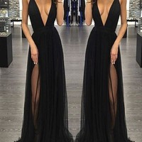 Long Black Full Lined Side Slit Prom Dress