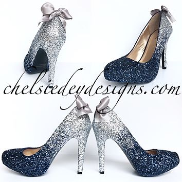 Navy Blue Glitter Pumps, Something Blue Ombre Wedding High Heels
