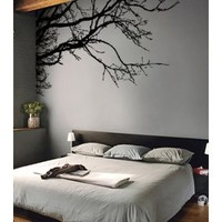 """TREE TOP BRANCHES WALL DECAL (BLACK /Left to Right) 100"""" W X 44"""" H #444m by Stickerbrand ★ Easy to Apply and REMOVABLE ★ Made in the USA ★ No Mess, No Paint, No Glue/Paste, No Residue ≈ Safer than wallpaper ★ Black color"""