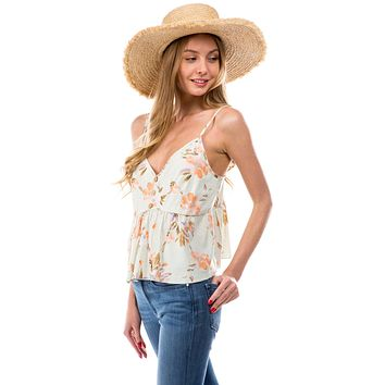 Babydoll Camisole Top with Floral Linen