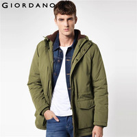 Giordano Men Jacket Multi Pocket Long Sleeve Winter Quilted Coat Warm Clothing Man Famous Brand Windproof Outerwears
