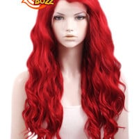 "24"" Long Curly Red Lace Front Synthetic Fashion Wig LF355 - CosplayBuzz"