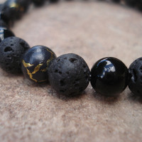 Mens Lava Stone Bracelet with Obsidian and Black with Gold Glass Beads