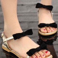 Ladies Cute Double Bow Strap Flat Sandals In LIGHT GOLD from NaomiShu