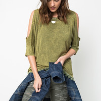 Cold Shoulder Stone Wash Tee, 3 colors