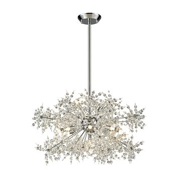 Snowburst 11-Light Chandelier in Polished Chrome with Crystal