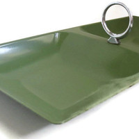 Cool Olive Green Metal Tray, Vintage Metal Tray, Retro Olive Green Tray, 1970s Metal Serving Tray, Green and Chrome Tray