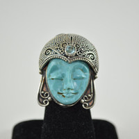 Cameo Face Carved Stone Ring Semi-Precious Blue Turquoise Blue Topaz Stone Metal Ring Size 6 Womens Teens Boho Fine Stone Jewelry