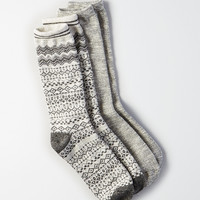 AEO Zig Zag Fairisle Crew Socks 2-Pack, Charcoal Heather