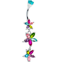 Sterling Silver 925 Multi Cubic Zirconia Floral Drop Belly Ring | Body Candy Body Jewelry