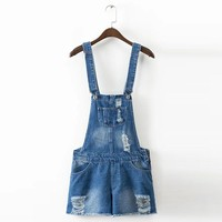 Sexy Strap Bleached Denim Shorts Jumpsuit Square Collar Pocket Sleeveless Overalls Fashion Women Hole Ripped Playsuit K17-02-24