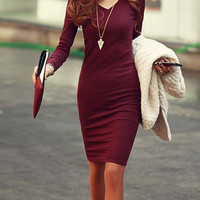 Wine Red V-Neck Long Sleeve Bodycon Dress