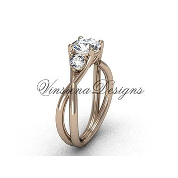 """Unique 14kt rose gold Three stone engagement ring, """"Forever One"""" Moissanite VD8212"""