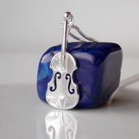 Violin Jewelry, Violin Necklace, Sterling Silver Necklace, Violin instrument, Violin Gifts, Music Instrument, Violin Charm, Sterling Silver