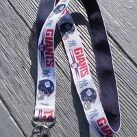 Ribbon Lanyard, NY Giants Football Sports Lanyard, Id Badge Holder, Giants Key Ring Holder Lanyard