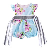 Summer born Infant Baby Girl Floral Bow-knot Romper Jumpsuit Outfits Sun-suit Clothes