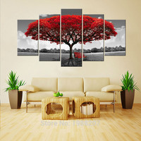 5 Panel Red Tree Canvas Painting Wall Art with Wooden Frames