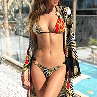 New printed strappy female split swimsuit sexy metal accessories bikini swimsuit