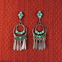 Native American Zuni Dishta Earrings Signed