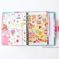 Cute Cafe Kawaii Dashboard Filofax Divider. Dessert Macarons Sweets Personal Pocket Planner Size. Stationary Diary, Organizer Scheduler.