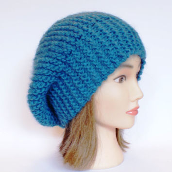 Beret style slouch hat petrol blue slouchy beanies hats women knitted irish handknit