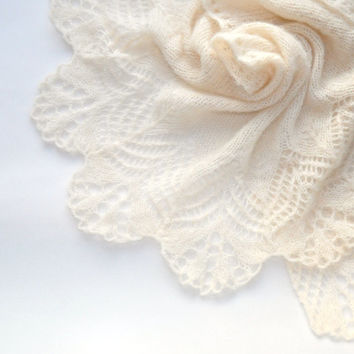 Hand Knit Bridal Shawl, Rustic Knit Lace Wedding Shawl, Womens Knit Shawl, Knit Shawl, Knit Lace Made to order