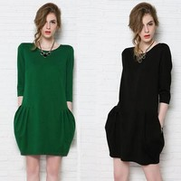Plus Size Women's Fashion Slim Long Sleeve One Piece Dress [6048300481]